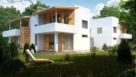 Красивый проект современного дома на две семьи с плоской крышей