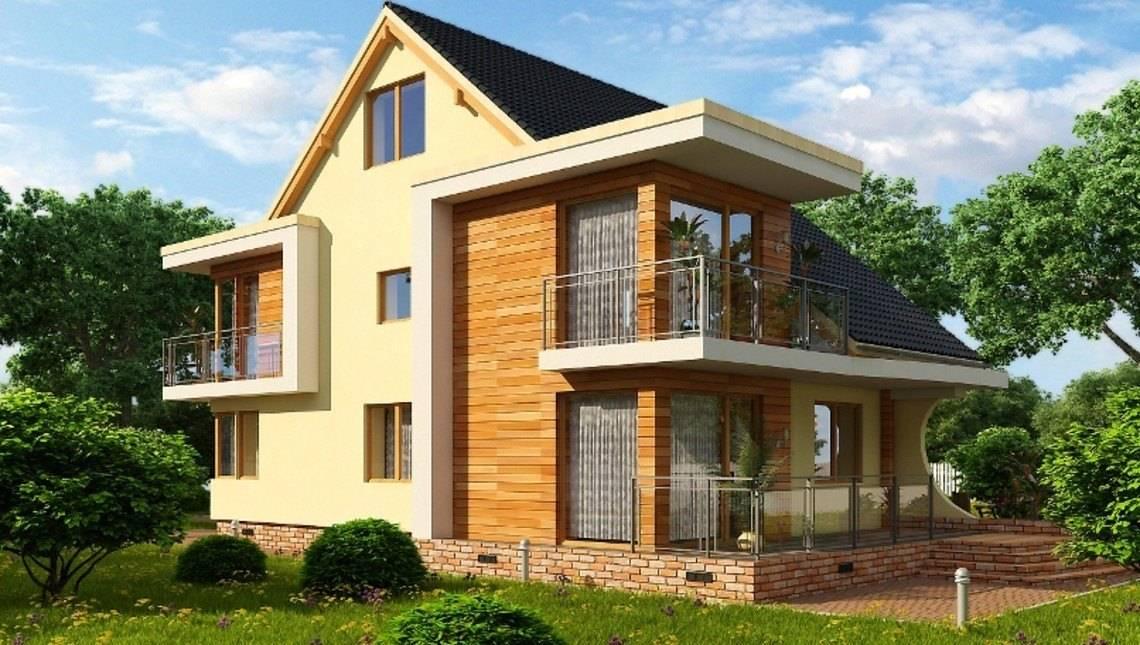 Красивый проект оригинального дома с мансардой и чердачным помещением