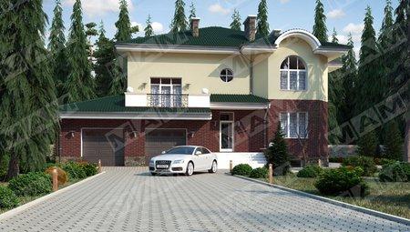Красивый проект виллы в классическом стиле с цокольным этажом и гаражом на две машины