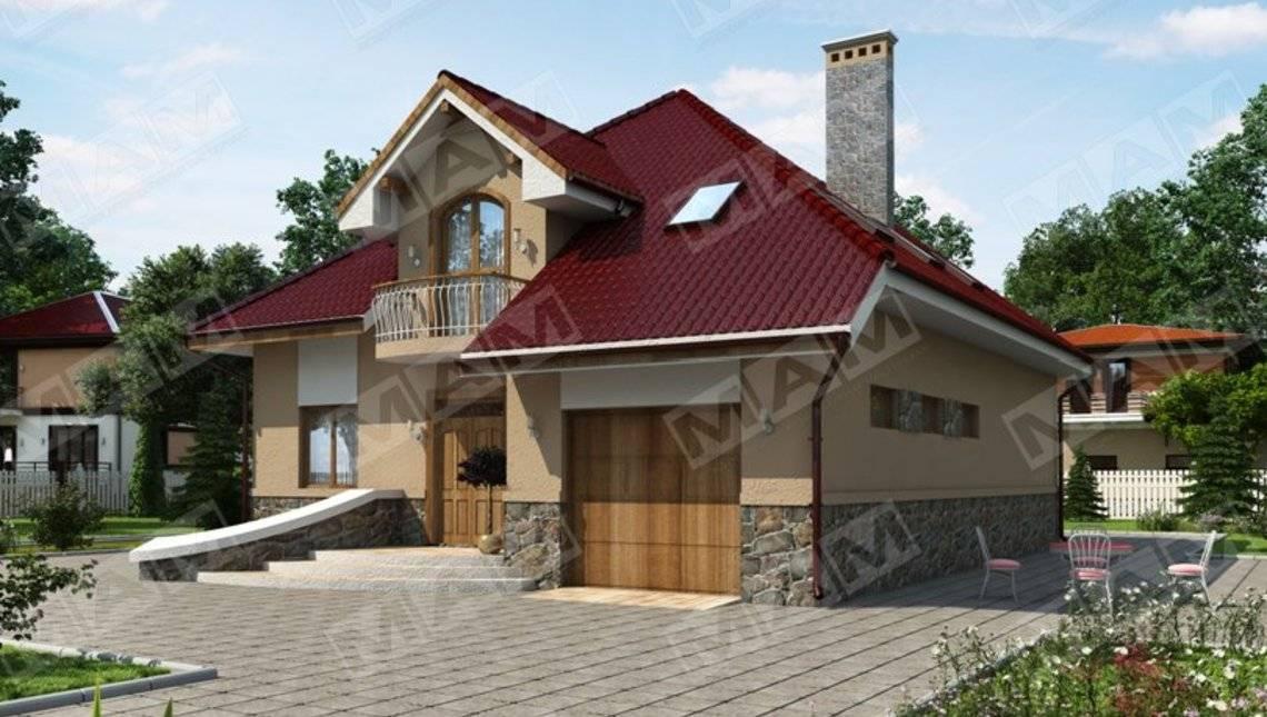Красивый проект стильного 1,5-этажного дома с гаражом