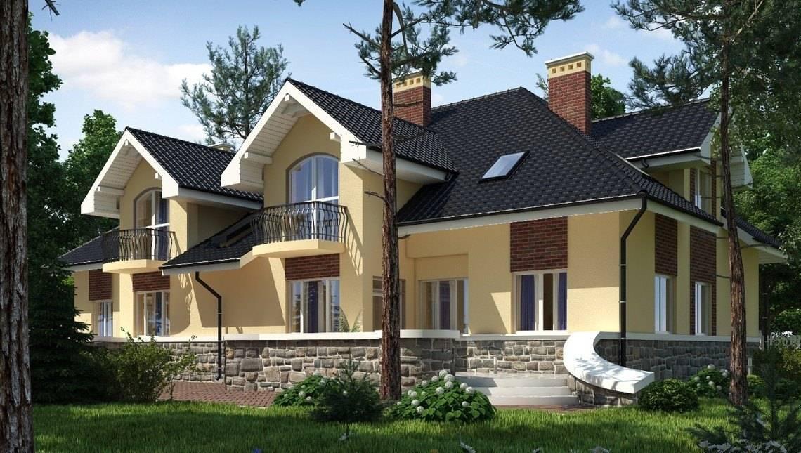 Красивый проект шикарного особняка на две семьи с двумя террасами