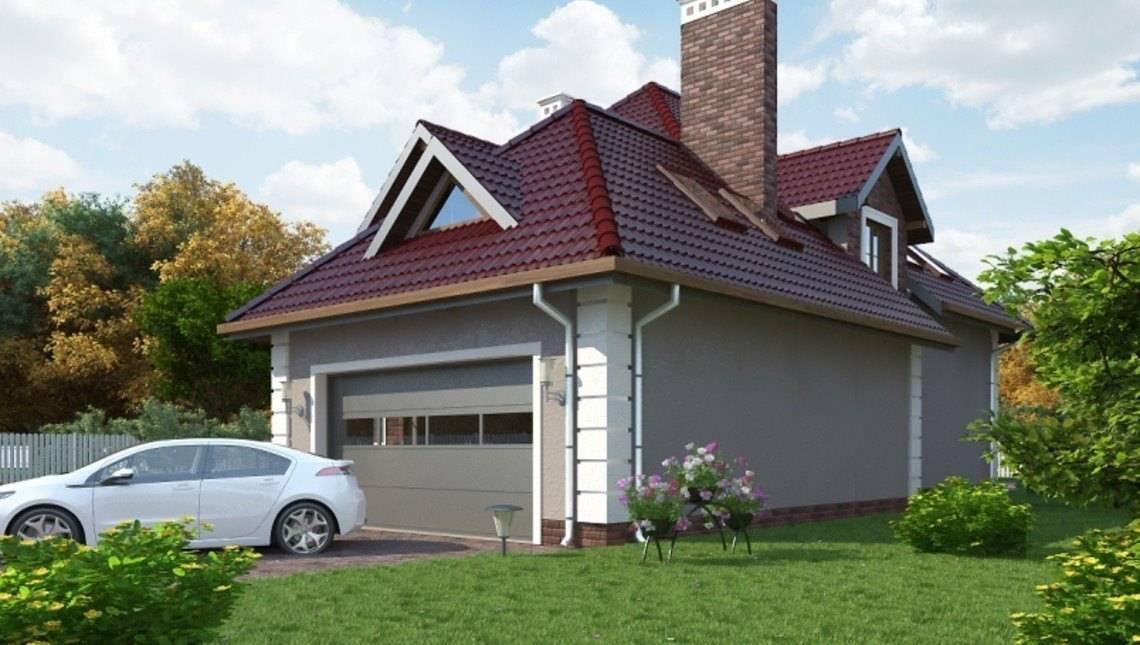Красивый проект просторного особняка с мансардой и гаражом на 2 авто