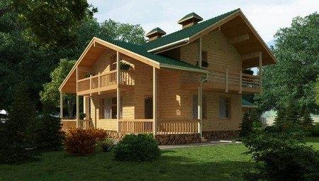 Красивый проект деревянной усадьбы с гаражом