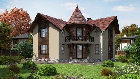 Красивый проект двухэтажного коттеджа с угловым входом