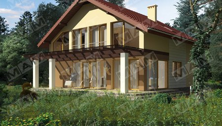 Красивый проект загородного коттеджа с большой светлой террасой