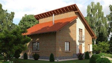 Красивый проект оригинального дома с кирпичным фасадом