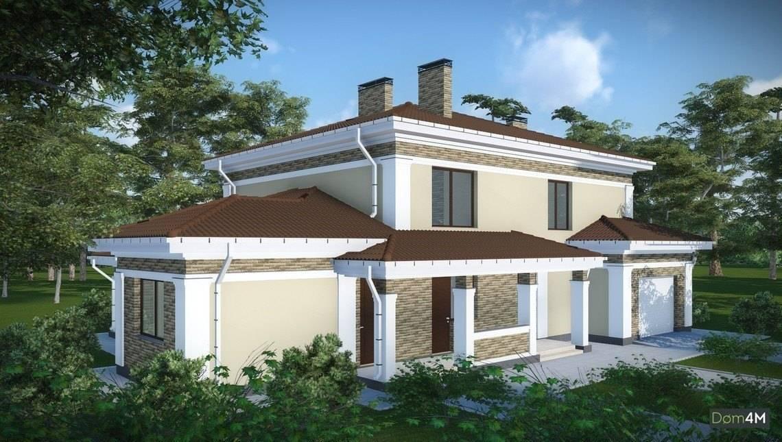 Проект для строительства удобного загородного коттеджа с гаражом на 2 семьи