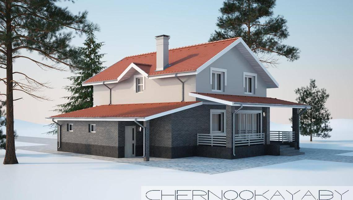Проект аккуратного двухэтажного коттеджа площадью 200 m²