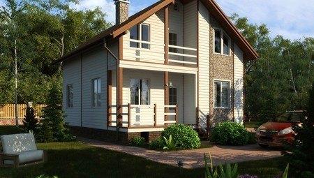Оригинальный проект жилого светлого дома с мансардой