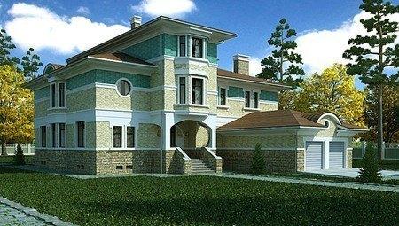 Оригинальный проект большого загородного жилого особняка с гаражом для 2 авто и бассейном
