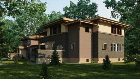 Оригинальный проект жилого загородного дома с бассейном внутри
