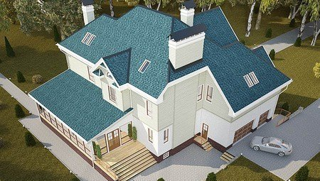 Оригинальный проект большого просторного загородного коттеджа