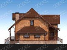 Оригинальный проект мансардного коттеджа с деревянной отделкой фасада