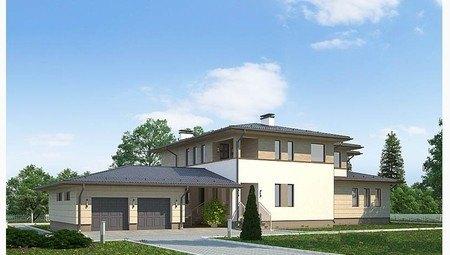 Проект роскошного двухэтажного особняка вытянутой формы