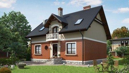 Красивый проект классического дома с мансардой и красивыми балконами