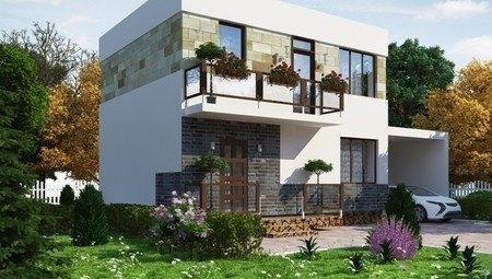 Красивый проект красивого классического дома с гаражом и мансардой