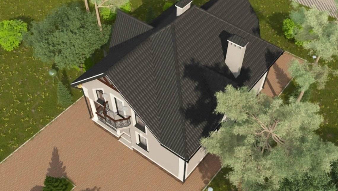 Красивый проект 1,5-этажной загородной усадьбы с красивыми балконами