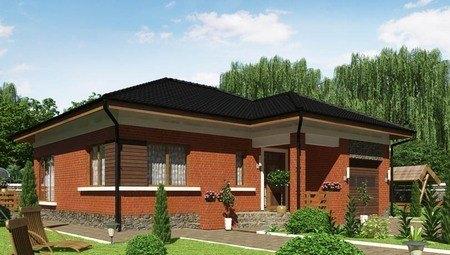Красивый проект дома с кирпичным фасадом и сауной