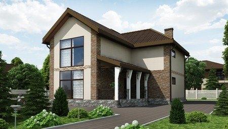 Красивый проект шикарной усадьбы с огромными панорамными окнами