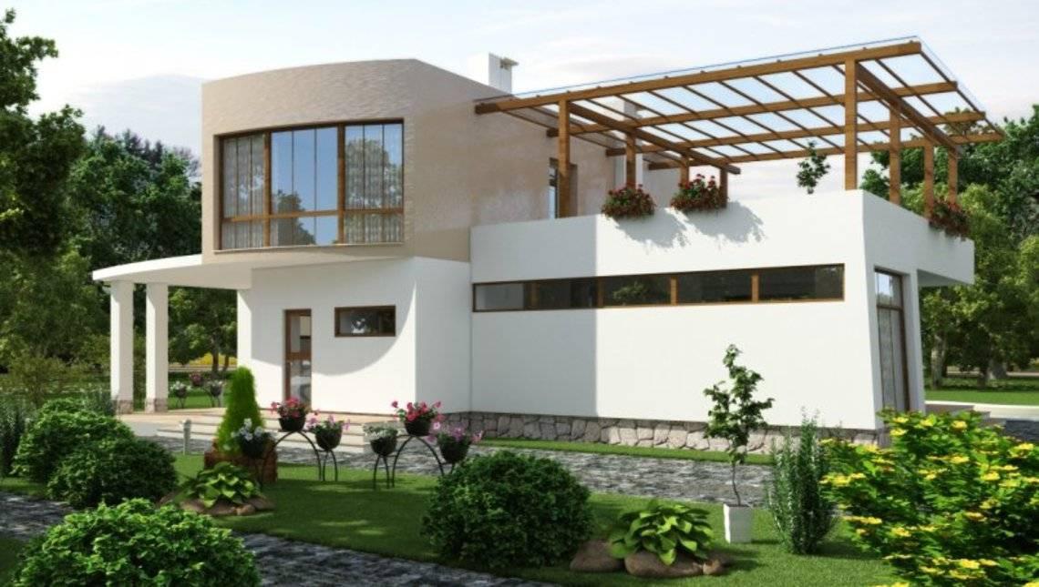 Красивый проект современного коттеджа с 3-мя спальнями на втором этаже и огромной террасой