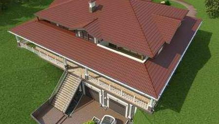 Красивый проект представительной резиденции в американском стиле с гаражом в цоколе