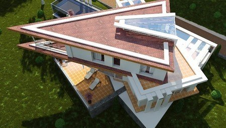 Красивый проект виллы в стиле хай тек с гаражом в цокольной зоне