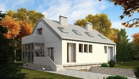 Красивый проект современного наполовину стеклянного дома с гаражом в цоколе
