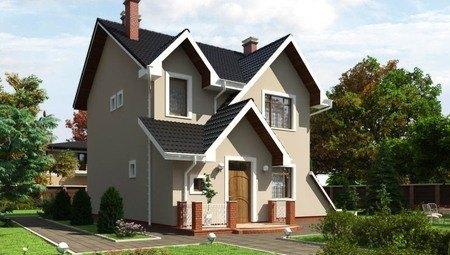 Красивый проект двухэтажного коттеджа с необычной крышей