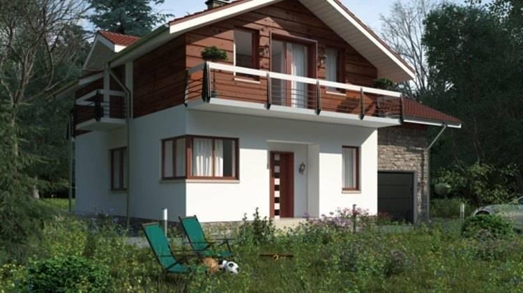 Красивый проект дома с мансардным этажом и гаражом