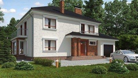 Красивый проект двухэтажного комфортного дома с гаражом