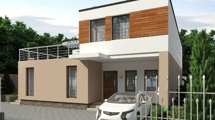 Красивый проект двухэтажного дома г-образной формы с внутренним двориком