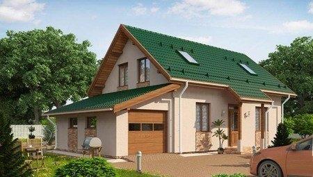 Красивый проект каркасного дома с гаражом