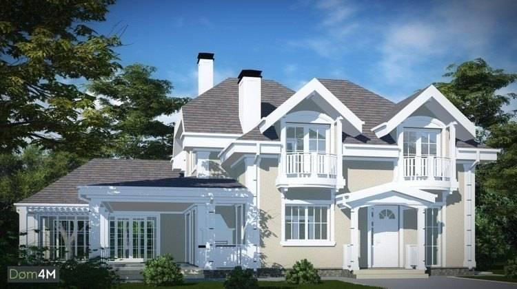 Проект большого светлого дома с балконами