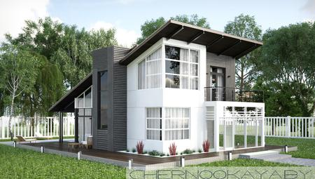 Архитектурный проект компактного необычного домика