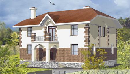 Проект красивой загородной виллы с оригинальным фасадом