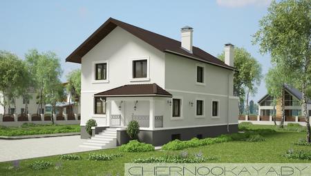 Архитектурный проект двухэтажного дома с тренажерным залом и бассейном