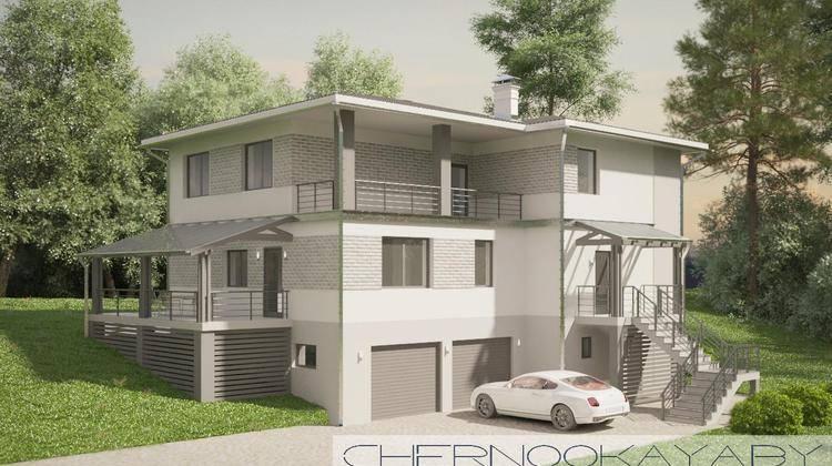 Проект большого трехэтажного коттеджа с гаражом