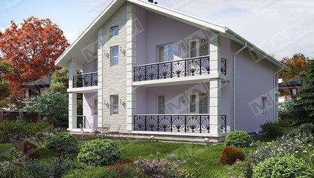 Проект светлого 2х этажного дома 12 на 12 площадью 240 m²