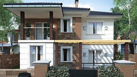 Оригинальный проект коттеджа с террасой и балконом площадью 200 m²