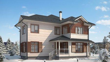 Оригинальный проект простого дома в классическом стиле с гаражом для 1 авто