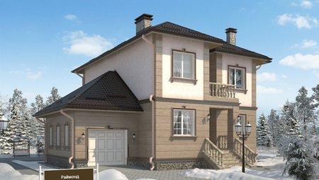 Оригинальный проект классического коттеджа 220 m² с гаражом и террасой