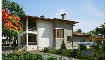 Оригинальный проект дома хай тек до 300 m² с террасой