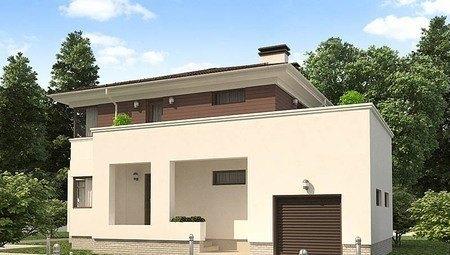 Оригинальный проект жилого дома с гаражом для 1 авто и удобной террасой