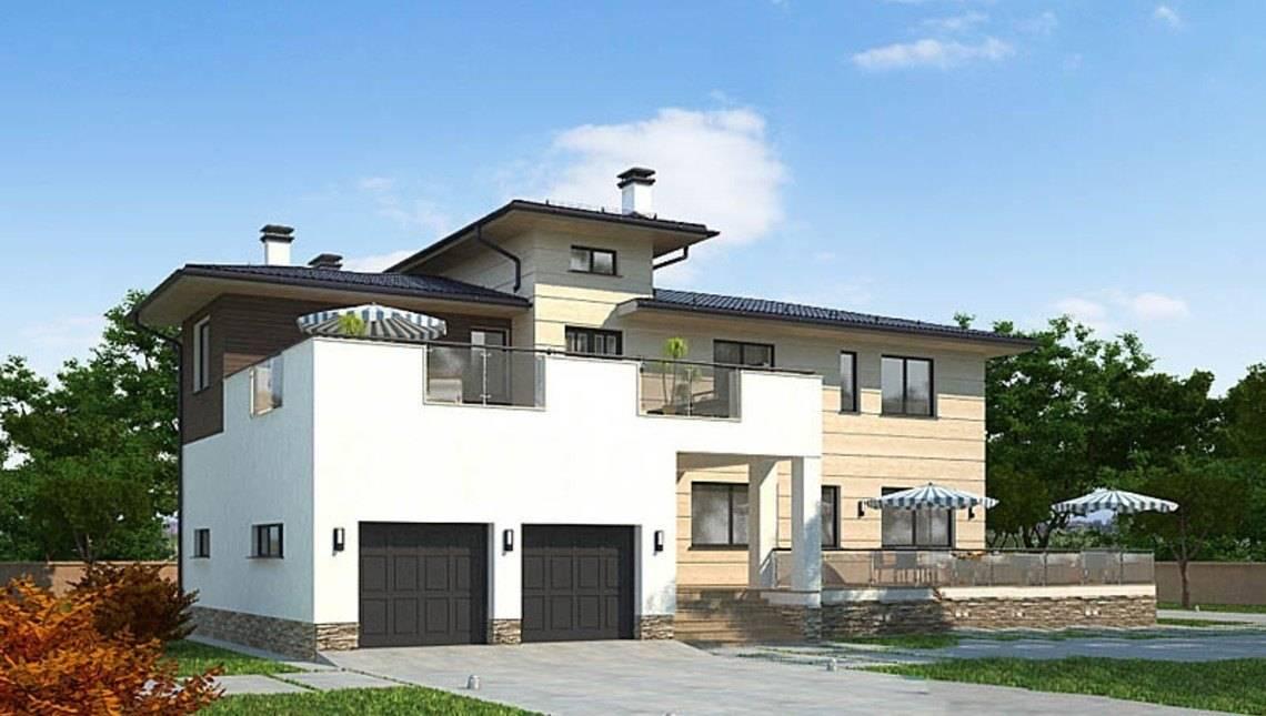 Оригинальный проект 2х этажного удобного дома с плоской крышей