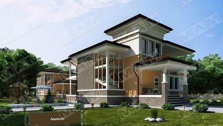 Оригинальный проект 2х этажного загородного коттеджа площадью до 300 m²