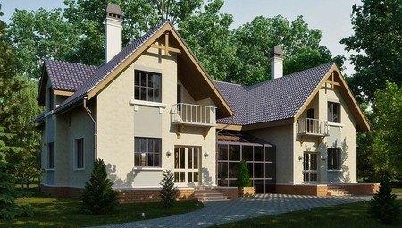 Оригинальный проект большого просторного дома с мансардой и удобной планировкой