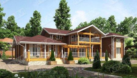 Оригинальный проект 2х этажного загородного жилого дома с деревянным фасадом