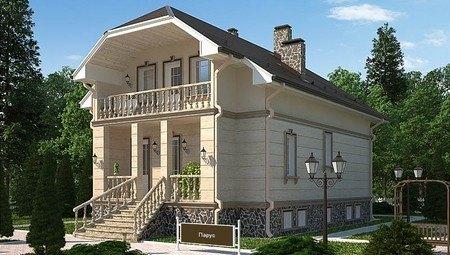 Оригинальный проект загородного жилого двухэтажного дома в старинном стиле