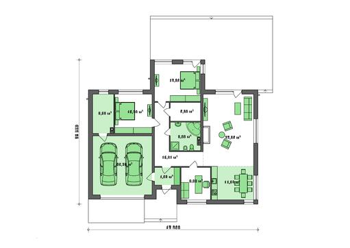 Архитектурный проект современного одноэтажного дома на 200 m²