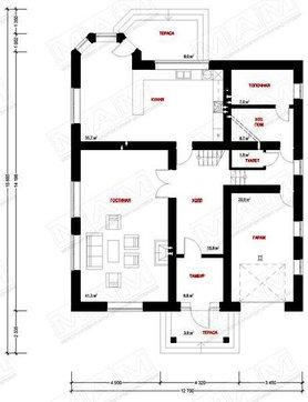 Красивый проект коттеджа в классическом стиле с 3-я спальнями на втором этаже